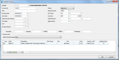 Supplier Invoice Screen